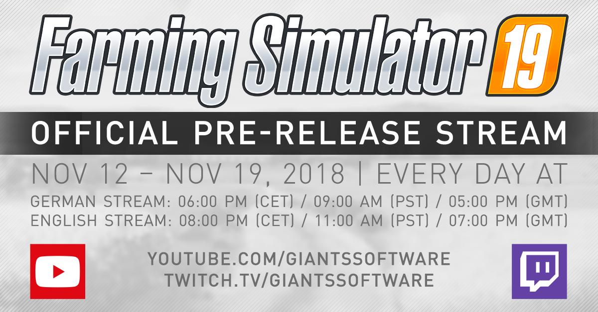 Pre-Release Streams FS19